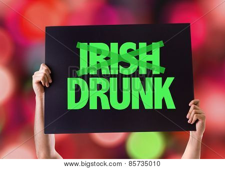 Irish Drunk card with bokeh background