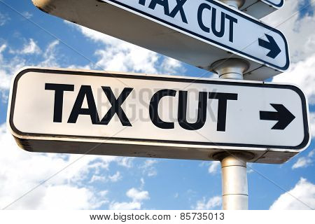 Tax Cut direction sign on sky background