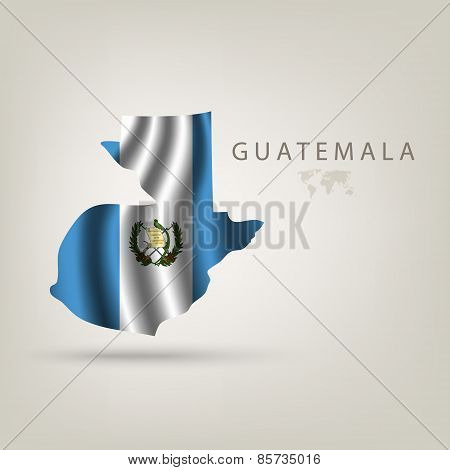 Flag Of Guatemala As A Country With A Shadow