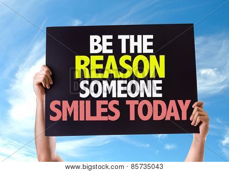 Be The Reason Someone Smiles Today card with sky background