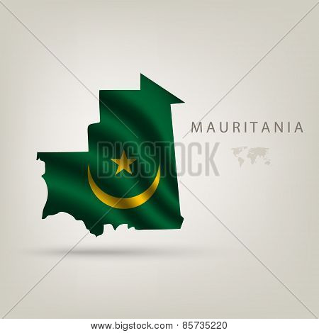 Flag Of Mauritania As A Country With Shadow