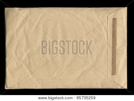 Brown Envelope Isolated On Black Background