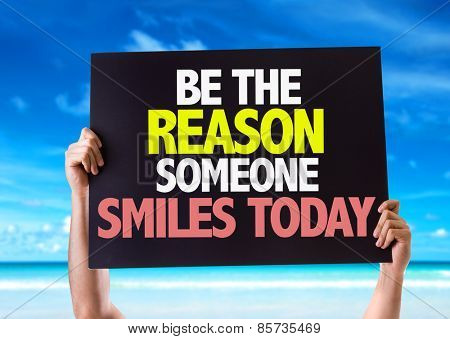 Be The Reason Someone Smiles Today card with beach background