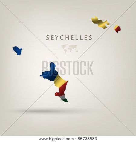 Flag of SEYCHELLES as a country with a shadow