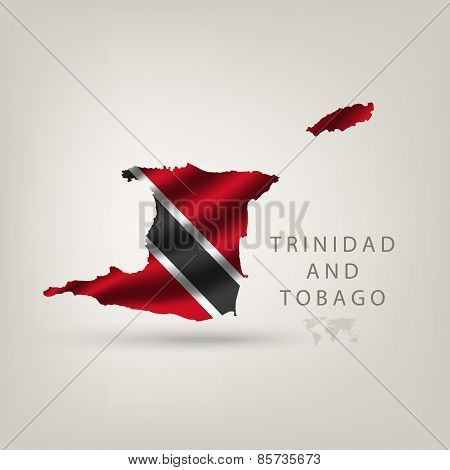 Flag of TRINIDAD AND TOBAGO as a country with a shadow