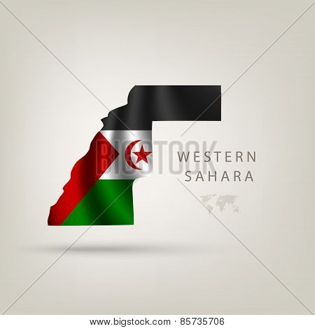 Flag of WESTERN SAHARA as a country with a shadow