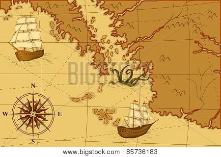 Old Map With A Compass And Ships