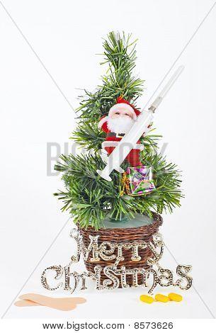 Small Xmas Tree With Santa And Medical Equipment