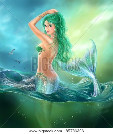 Fantasy beautiful mermaid at ocean on waves