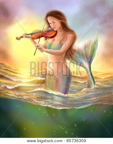 beautiful fantasy mermaid plays  on  violin on  sunset