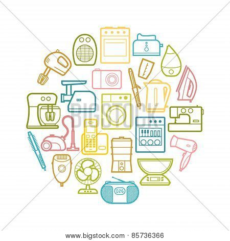 Circle set of contour home appliances icons