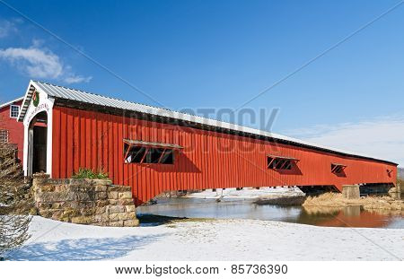 Bridgeton Covered Bridge At Christmas