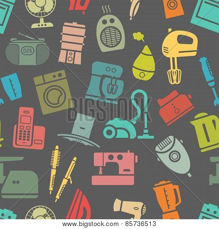 Dark seamless pattern of home appliances