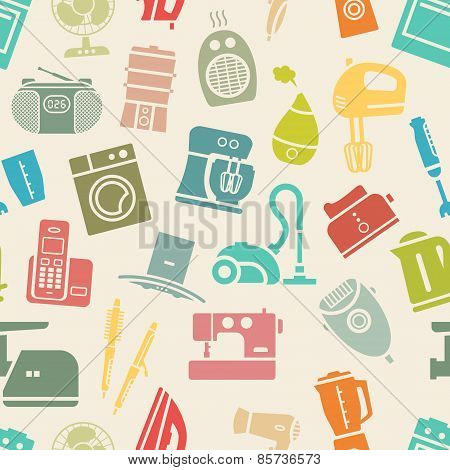 Light seamless pattern of home appliances