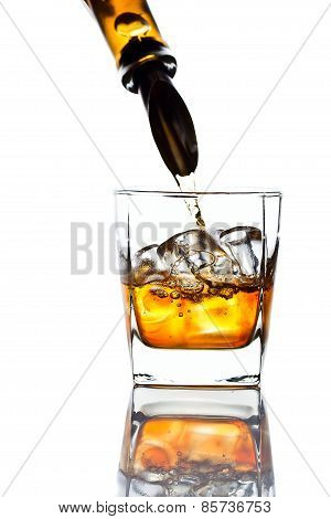 Whiskey And Natural Ice Isolated On White