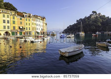 Portofino's Bay, Ligurian Sea, winter view. Color image