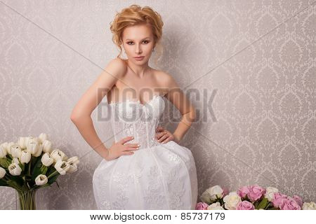 beautiful and fashion bride with beautiful makeup and hairstyle in luxury interior