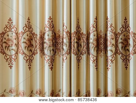 Texture Of Curtain Or Drapery