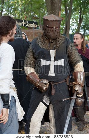ZAGREB, CROATIA - OCTOBER 07, 2012: Knight ready for the battle at