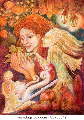 Beautiful Fantasy Drawing Of A Autumn Woman With Red Hair Heading A Message From A Leaf In A Company