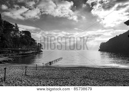 Paraggi beach, Ligurian Sea, wintertime. Black and white photo