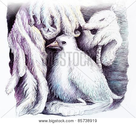 Beautiful Detailed Fantasy Drawing Of A Feather Fairy And A White Bird, Ornamental Monochromatic Sty