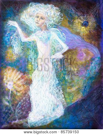 White Fairy Woman Spirit In Bright Dress On Abstract Colorful Magical Background, Detailed Multicolo
