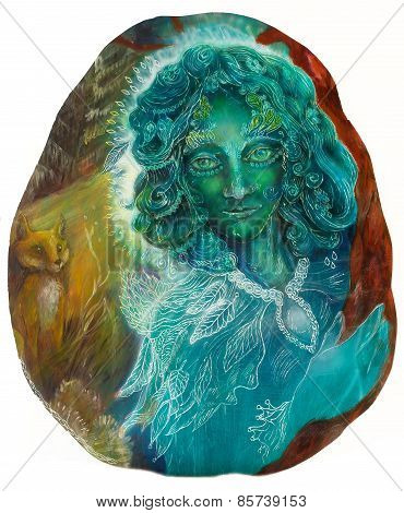 Beautiful Fantasy Emerald Green Fairy Portrait, Colorful Close Up Painting, Eye Contact