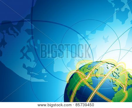 Abstract Background With Globe In Space