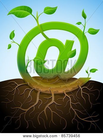 Growing Mail Symbol As Plant With Leaves And Roots
