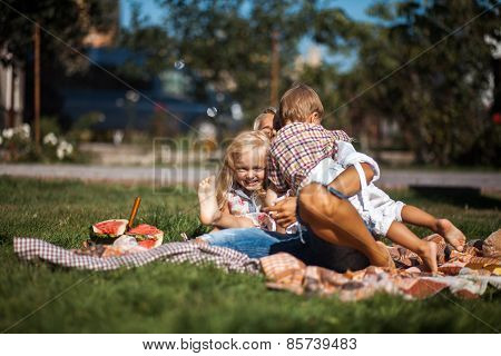 Mother With Kids Have Fun