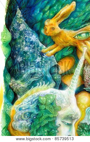 Colorful Bright Elven Creatures In A Fairy Realm, Beautiful Colorful Fantasy Detailed Painting