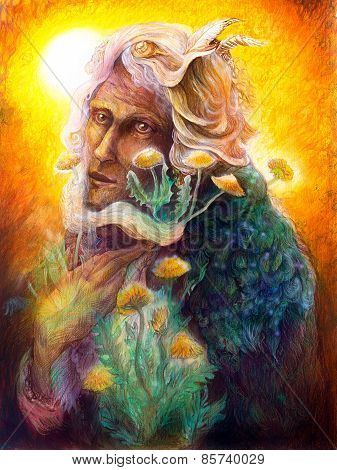 Fantasy Elven Fairy Man Portrait With Dandelion, Colorful Bright Detailed Fairytale Painting