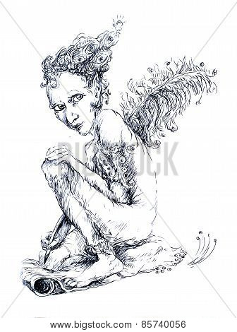 Little Fairy Writer With A Feather, Fantasy Detailed Ornamental Monochromatic Drawing