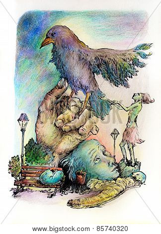 Surrealistic Illustration Of A Hatching Shaman Trying To Please A Giant Park Bird, Detailed Intricat