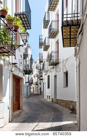 Picturesque street in Valencia on a sunny day.