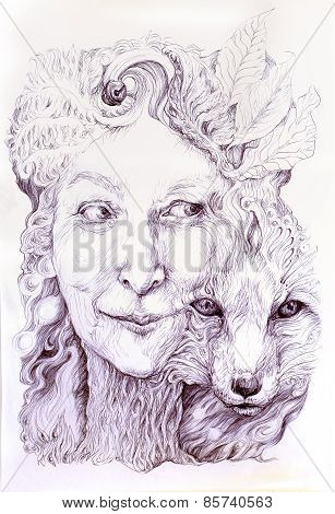 Wise Shamanic Woman Forest Goddess, With A Second Nature Of A Fox, Beautiful Monochromatic Detailed