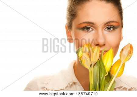 picture of happy woman with yellow tulips