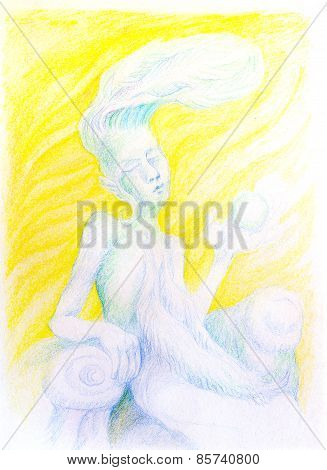 Fantasy Drawing Of Sky Feather Fairy Spirit, Detailed Colorful Artwork