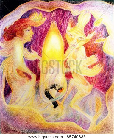 Dancing Inside A Candle With A Candle Light Fire Elemental Spirit, Beautiful Fantasy Colorful Painti