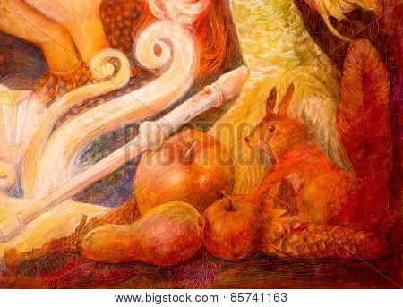 Autumn Fairy Tale Scene, Beautiful Fantasy Colorful Painting, Ornamental Intricate Abstract Backgrou
