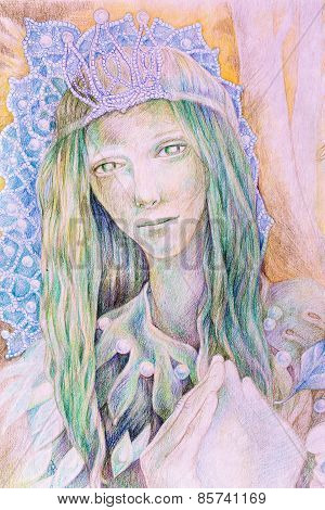 Beautiful Fantasy Drawing Of A Fairy Woman Forest Queen With A Crown Of Pearls And Long Green Hair