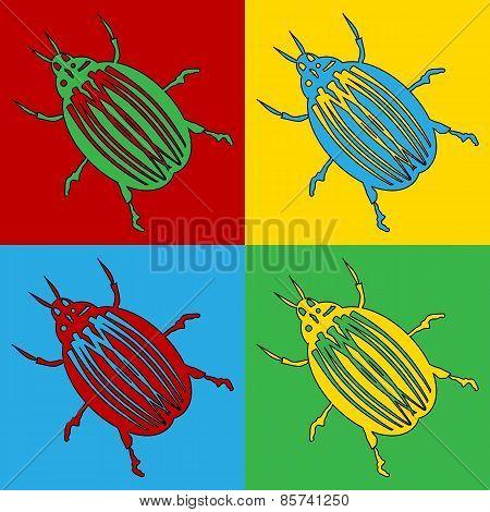 Pop Art Bug Symbol Icons.