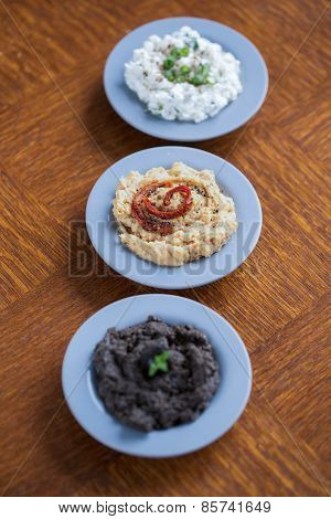 Cottage Cheese, Hummus And Tapenade