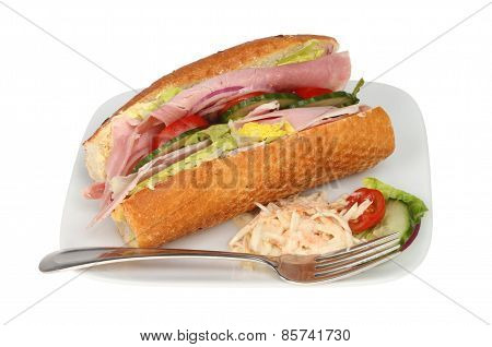 Ham Salad Roll On A Plate