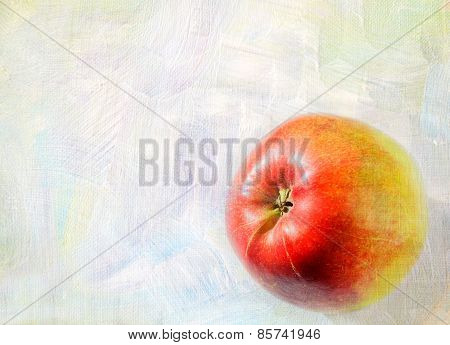 Ripe Apple Fruit Closeup On A Grunge Background