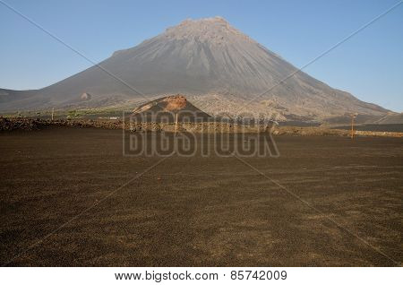 Empty Field And Volcano