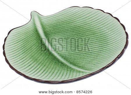 Green Leaf Shaped Plate