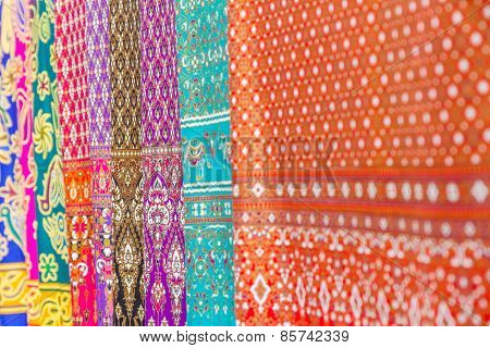 colorful oriental material in souvenir shop