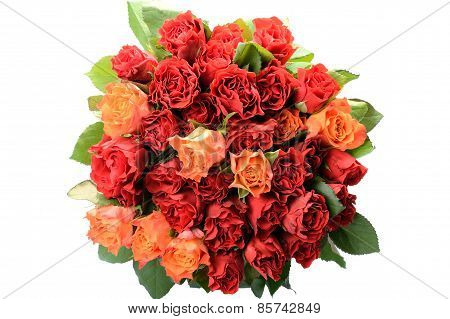 Round bright bouquet of roses in the center of the white background